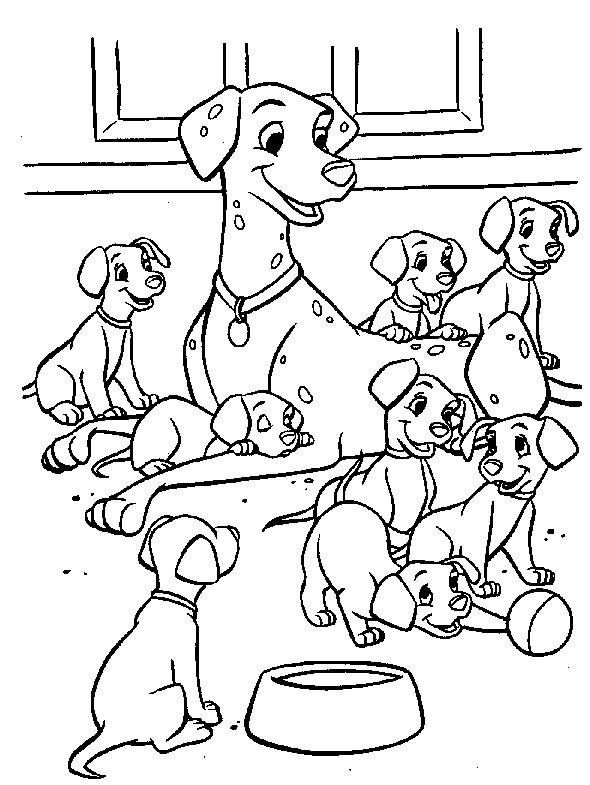 Coloriage et dessins gratuits La famille des dalmatiens à imprimer