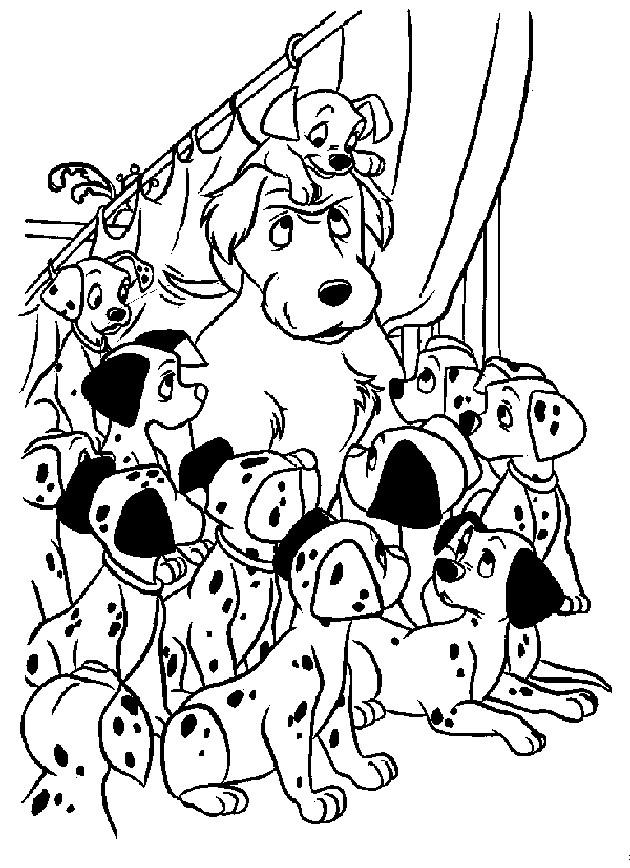 Coloriage et dessins gratuits Les 101 dalmatiens se regroupent ensemble à imprimer