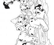 Coloriage et dessins gratuit Les adorables petits dalmatiens à imprimer