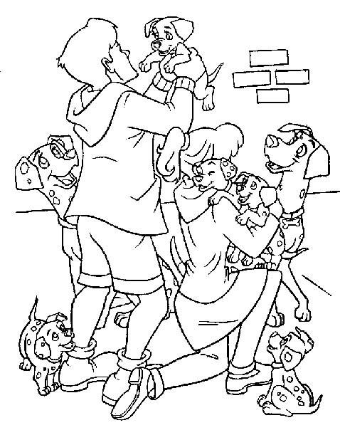 Coloriage et dessins gratuits Les naissance des petits dalmatiens à imprimer