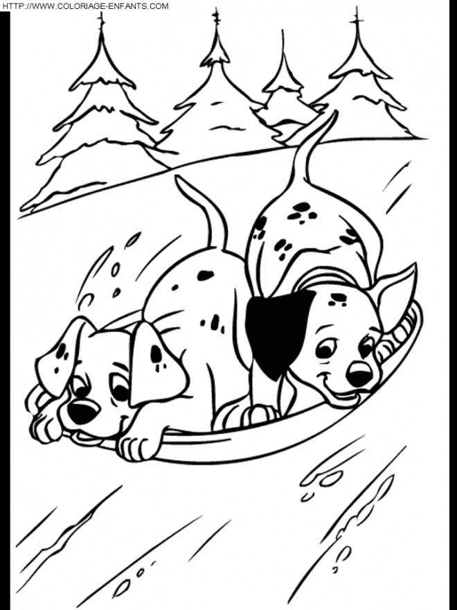 Coloriage les petit dalmatiens font du ski dessin gratuit imprimer - Coloriage dalmatien ...
