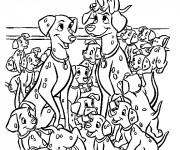 Coloriage et dessins gratuit Les petits dalmatiens à imprimer