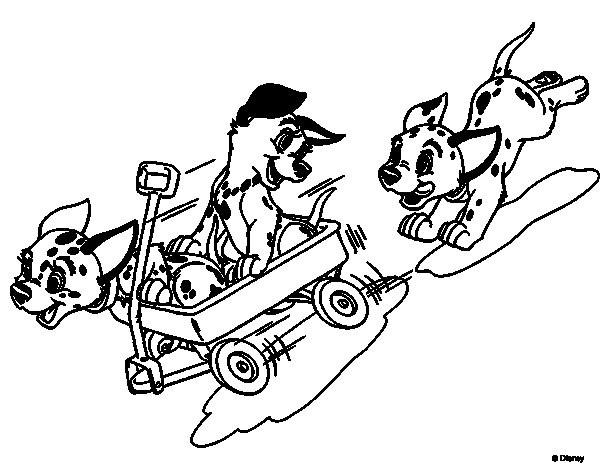 Coloriage et dessins gratuits Les petits dalmatiens courent à imprimer
