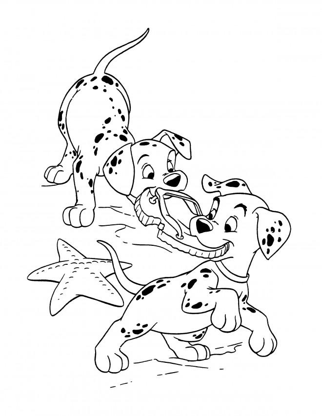 Coloriage et dessins gratuits Les petits  dalmatiens étirent une claquette à imprimer