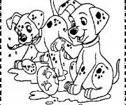 Coloriage et dessins gratuit Les petits dalmatiens font de la peinture à imprimer