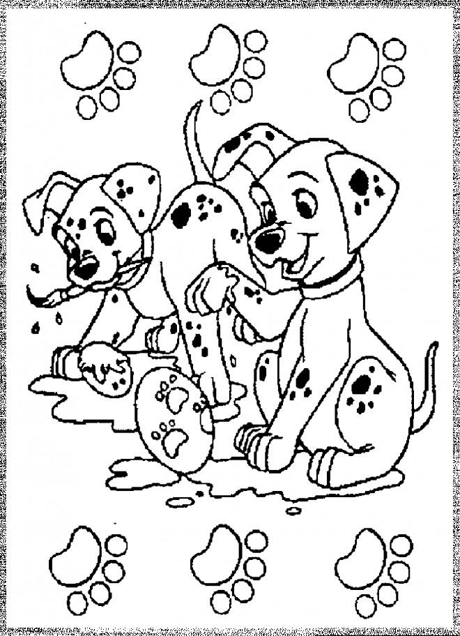 Coloriage et dessins gratuits Les petits dalmatiens font de la peinture à imprimer