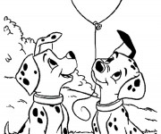 Coloriage Penny et Patch tiennent un ballon