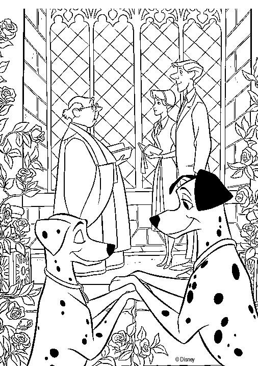 Coloriage et dessins gratuits Perdita et Pongo dans l'église à imprimer