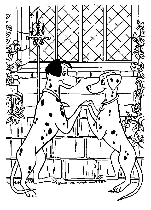 Coloriage et dessins gratuits Perdita et Pongo dansent à imprimer
