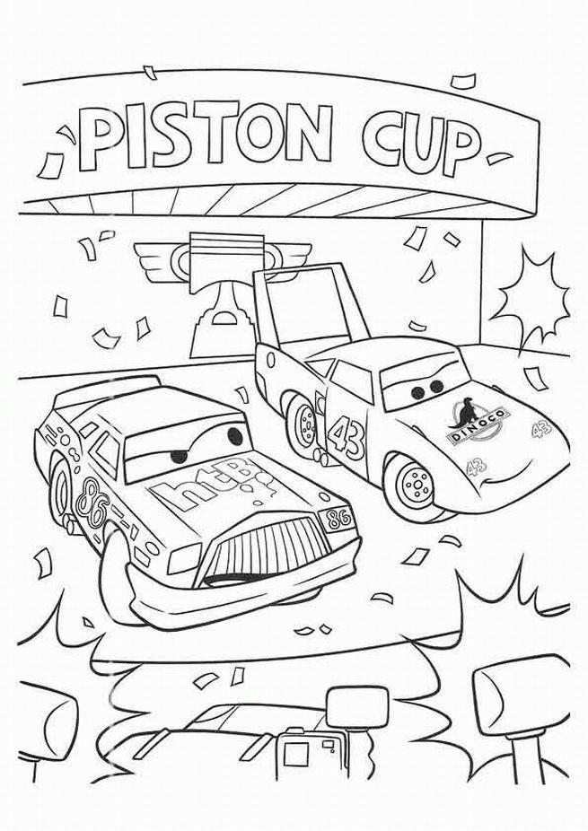 Coloriage et dessins gratuits Chick Hicks et Dinoco vainqueurs à imprimer