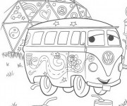 Coloriage Estafette de Flash Mcqueen