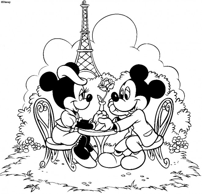 Coloriage Mickey Et Minnie Se Dinent A Paris