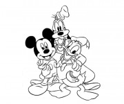 Coloriage dessin  Dingo, Mickey et Donald