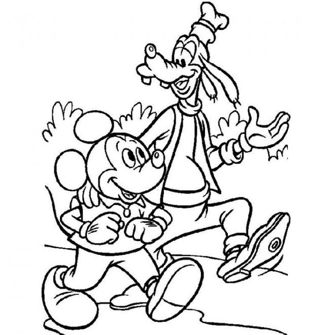 Coloriage et dessins gratuits Mickey et Dingo baladent à imprimer
