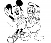Coloriage Mickey et Donald