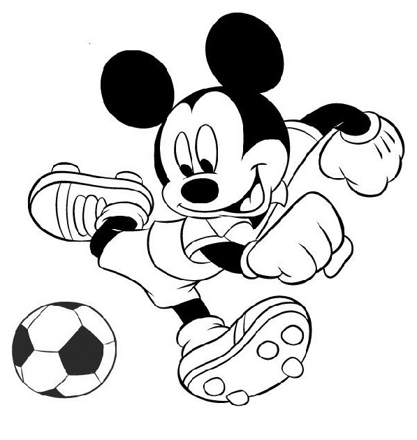 Coloriage mickey joue au football dessin gratuit imprimer - Dessins animes de mickey mouse ...