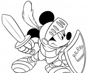Coloriage Mickey mouse le chevalier