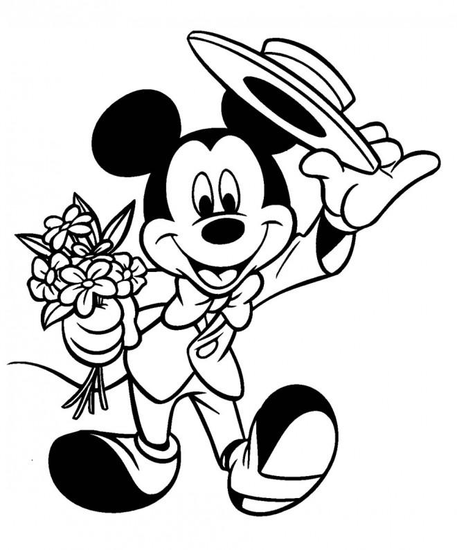 Coloriage et dessins gratuits Mickey tient un bouquet de fleurs à imprimer