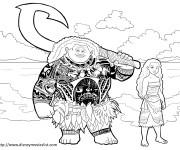 Coloriage et dessins gratuit Moana et Maui disney à imprimer