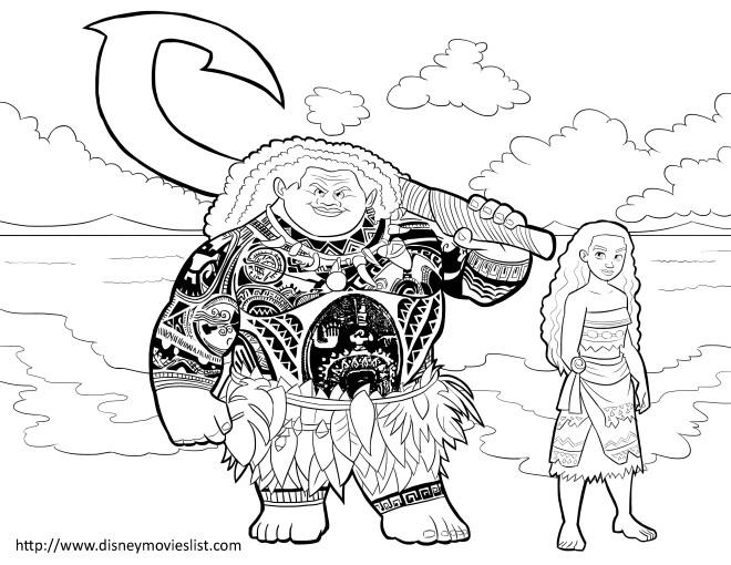 Coloriage et dessins gratuits Moana et Maui disney à imprimer