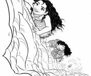 Coloriage et dessins gratuit Viana et Maui au pays des monstres à imprimer