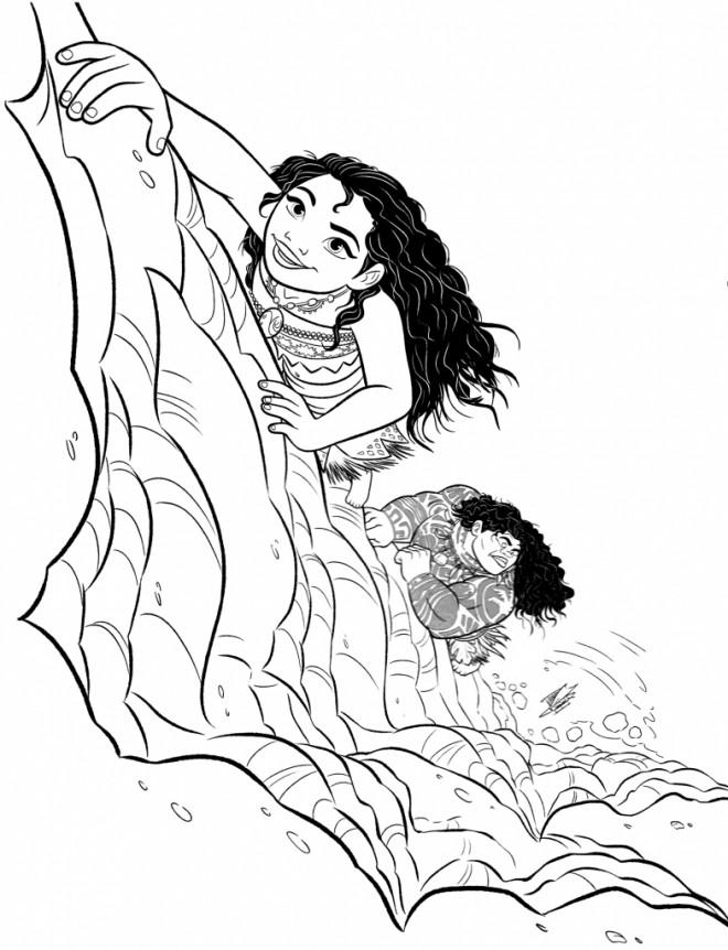 Coloriage et dessins gratuits Viana et Maui au pays des monstres à imprimer