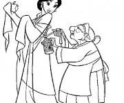 Coloriage et dessins gratuit Grand mère Fa et Mulan à imprimer