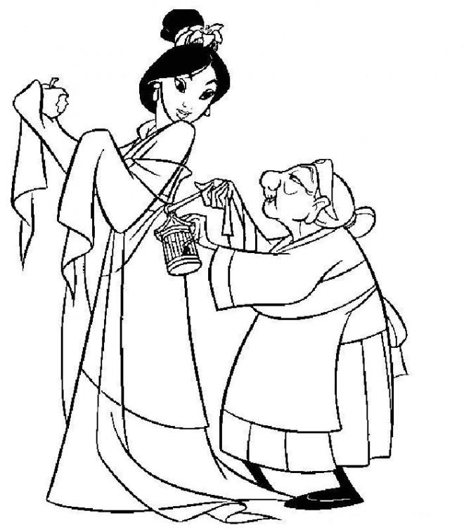 Coloriage et dessins gratuits Grand mère Fa et Mulan à imprimer