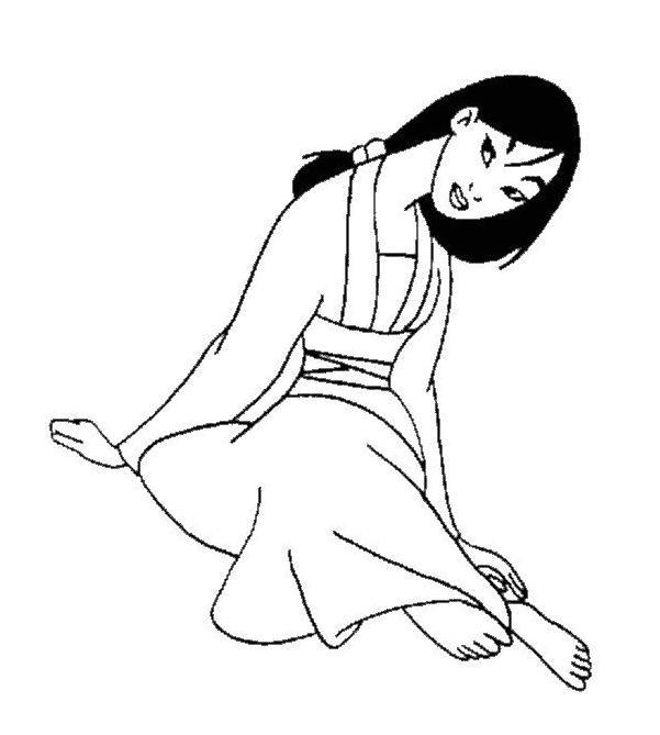 Coloriage et dessins gratuits La douce Mulan à imprimer