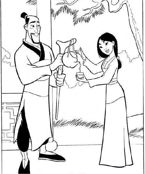 Coloriage et dessins gratuits Le père Fa verse du thé à Mulan à imprimer