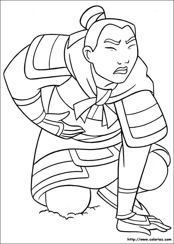 Coloriage et dessins gratuits Mulan blessé à imprimer