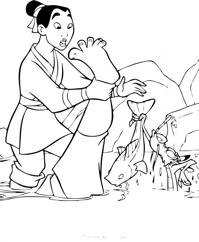 Coloriage et dessins gratuits Mulan  dans la rivière à imprimer
