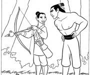 Coloriage et dessins gratuit Mulan déguisée en un homme à imprimer