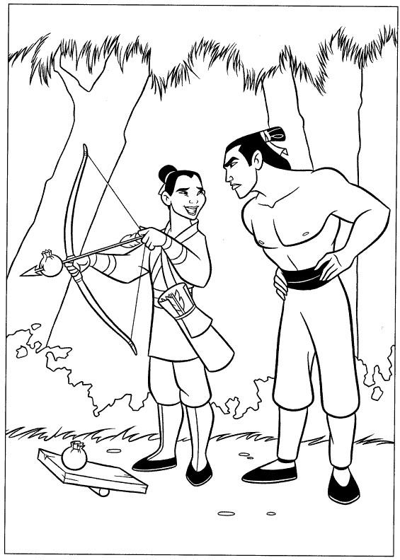 Coloriage et dessins gratuits Mulan déguisée en un homme à imprimer