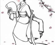 Coloriage et dessins gratuit Mulan en kimono à imprimer