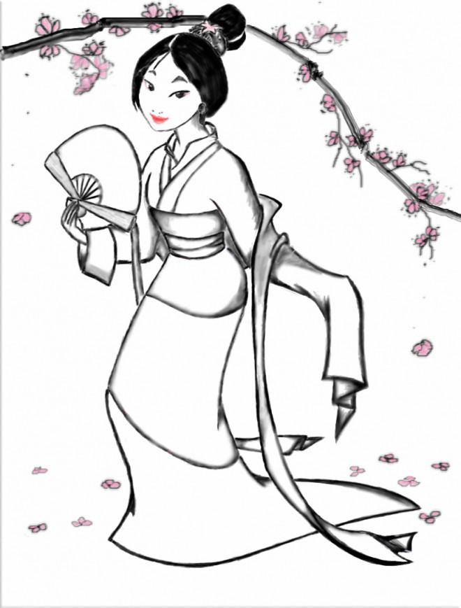 Coloriage et dessins gratuits Mulan en kimono à imprimer