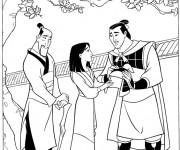 Coloriage et dessins gratuit Mulan et capitaine Shang à imprimer