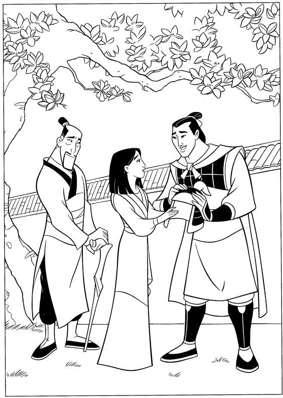 Coloriage et dessins gratuits Mulan et capitaine Shang à imprimer