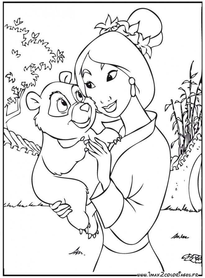 Coloriage et dessins gratuits Mulan et le petit ours à imprimer