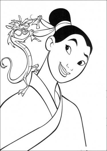 Coloriage et dessins gratuits Mulan et Mushu à imprimer