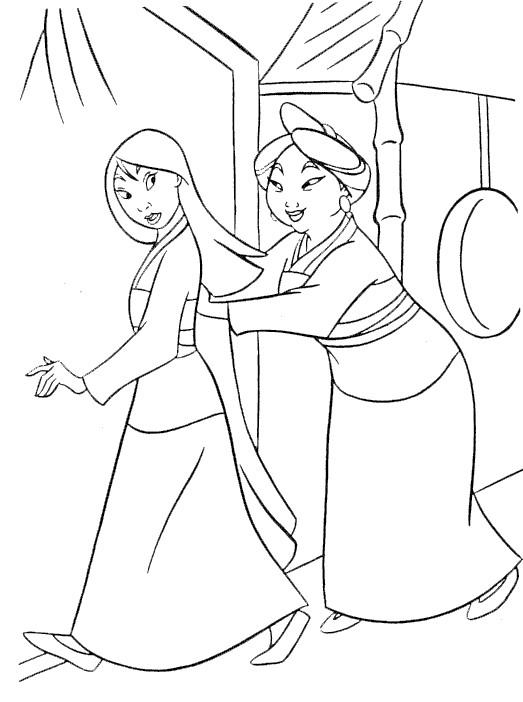 Coloriage et dessins gratuits Mulan et sa mère à imprimer
