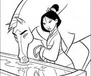 Coloriage et dessins gratuit Mulan et son cheval à imprimer
