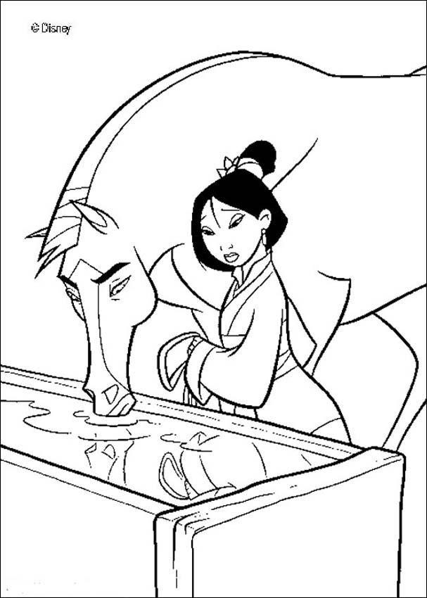 Coloriage et dessins gratuits Mulan et son cheval à imprimer