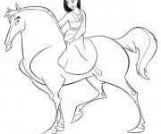 Coloriage Mulan et son cheval Khan
