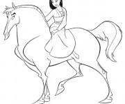 Coloriage et dessins gratuit Mulan et son cheval Khan à imprimer