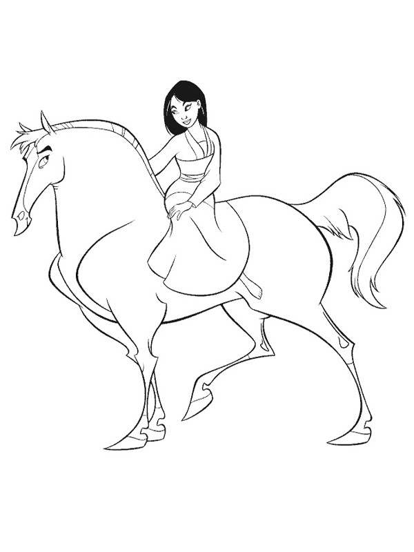 Coloriage et dessins gratuits Mulan et son cheval Khan à imprimer