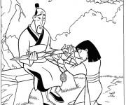 Coloriage et dessins gratuit Mulan et son père à imprimer