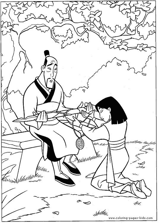 Coloriage et dessins gratuits Mulan et son père à imprimer