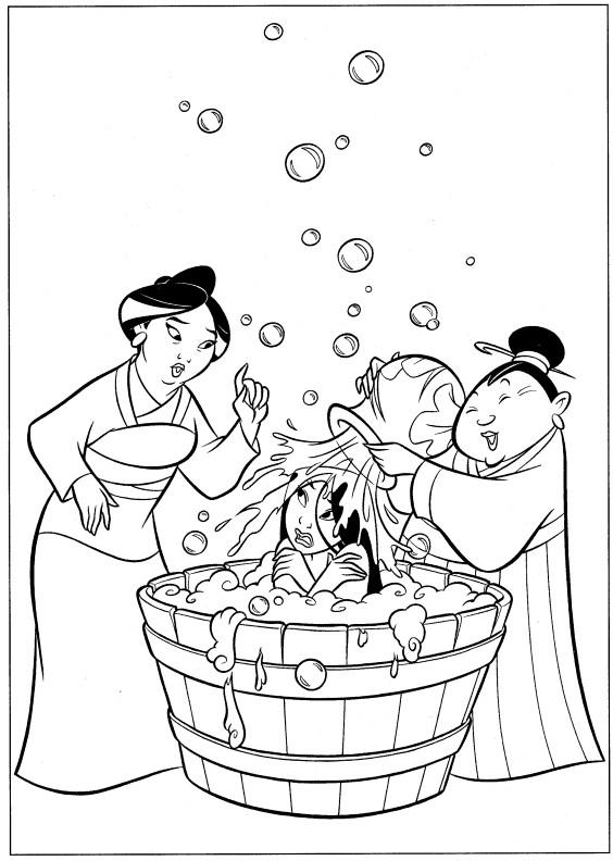 Coloriage et dessins gratuits Mulan se douche à imprimer