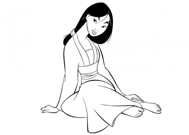 Coloriage et dessins gratuits Mulan simple à colorier à imprimer